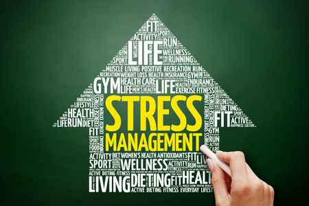 Stress Management arrow word cloud collage, health concept on blackboard