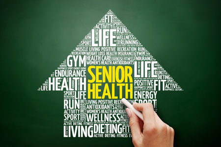Senior health arrow word cloud collage, health concept on blackboard