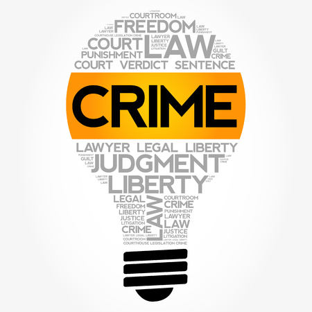 Crime bulb word cloud collage, concept background