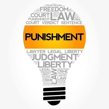 Collage de la nube de la palabra del bulbo del castigo, vector del concepto de la ley Foto de archivo - 91889467