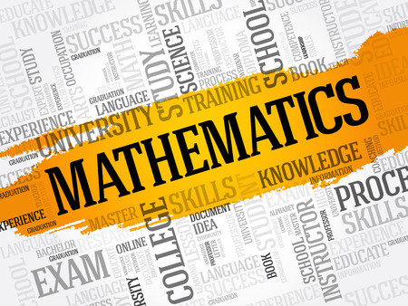 Mathematics word cloud collage, education concept background Illustration