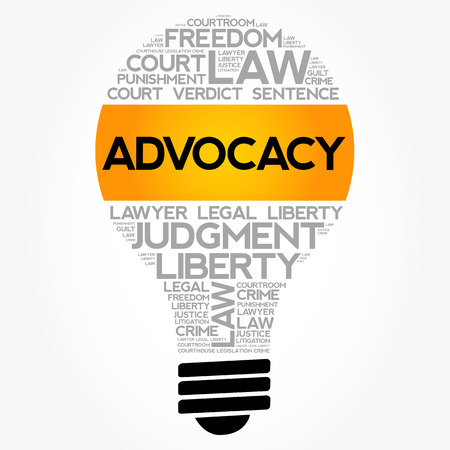 Advocacy bulb word cloud collage, law concept background Illustration
