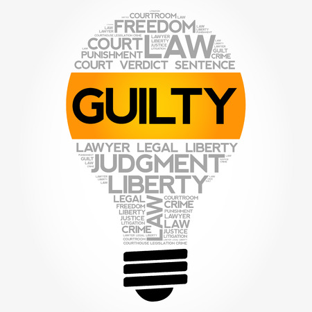 Guilty bulb word cloud collage, law concept background Illustration