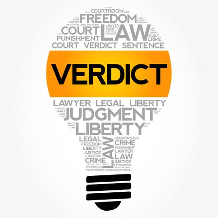 Verdict bulb word cloud collage, law concept background