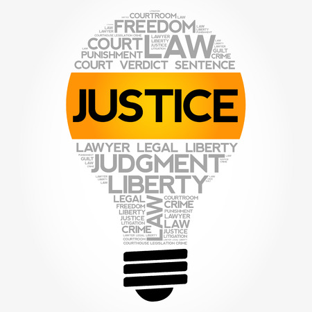 Justice bulb word cloud collage, law concept background