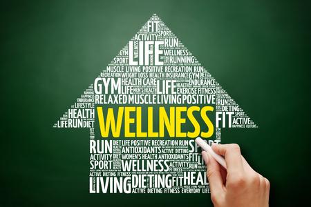 WELLNESS arrow word cloud collage, health concept on blackboard Stock Photo