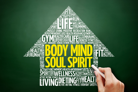 Body Mind Soul Spirit arrow word cloud collage, health concept on blackboard