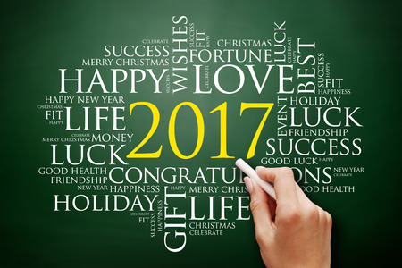 2017 year greeting word cloud collage happy new year celebration greeting card on blackboard stock
