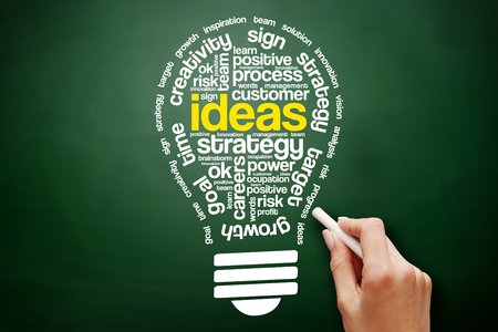 Ideas Sphere Bulb Words Cloud, business concept on blackboard