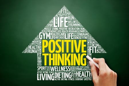 Positive thinking arrow word cloud collage, health concept on blackboard