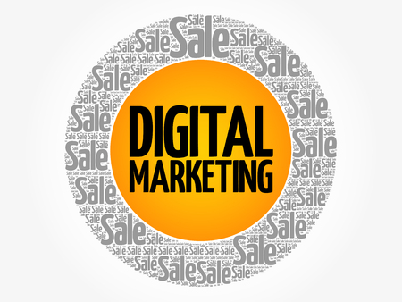 Digital Marketing words cloud, business concept background.