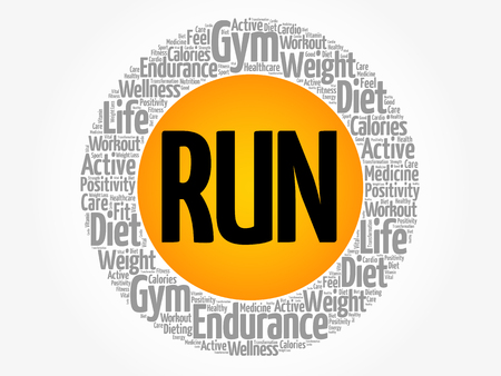 Run circle stamp word cloud, fitness, sport, health concept.
