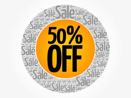 50% OFF Sale words cloud, business concept background. Vectores