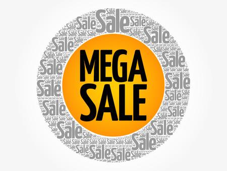 Mega Sale circle stamp word cloud, business concept illustration.