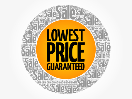 Lowest price guaranteed words cloud, business concept background. Illustration