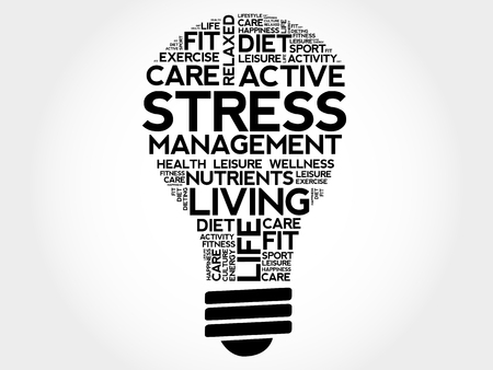 Stress Management bulb word cloud collage, health concept.
