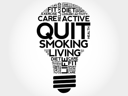 Quit Smoking bulb word cloud collage, health concept. Illustration