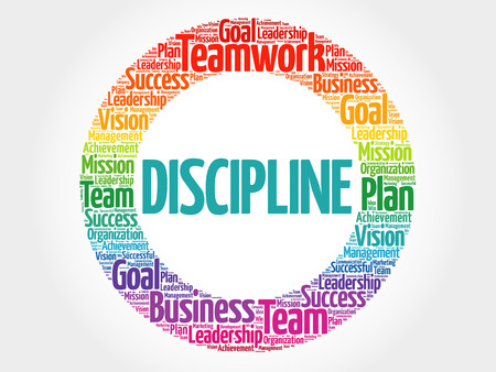 DISCIPLINE word cloud collage, business concept.
