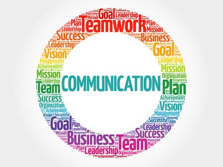Communicatie de collage van de woordwolk, bedrijfsconceptenillustratie. Stock Illustratie