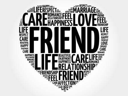 Friend word cloud collage, heart concept illustration.