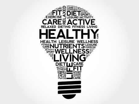 HEALTHY bulb word cloud collage, health concept illustration. Illustration