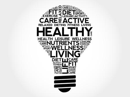 HEALTHY bulb word cloud collage, health concept illustration. Illusztráció