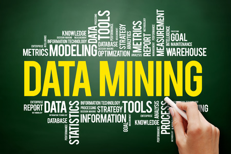 Data Mining Technology Strategy word cloud collage, business concept on blackboard Stock Photo