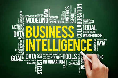 Business intelligence word cloud concept on blackboard Stock Photo