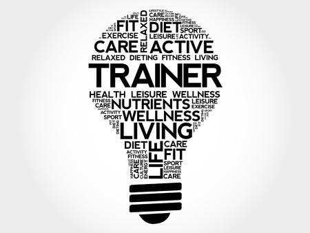 TRAINER bulb word cloud collage