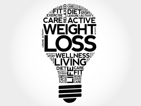 WEIGHT LOSS bulb word cloud collage