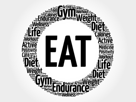 EAT word cloud collage. Vettoriali