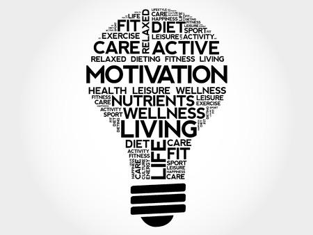 MOTIVATION bulb word cloud collage