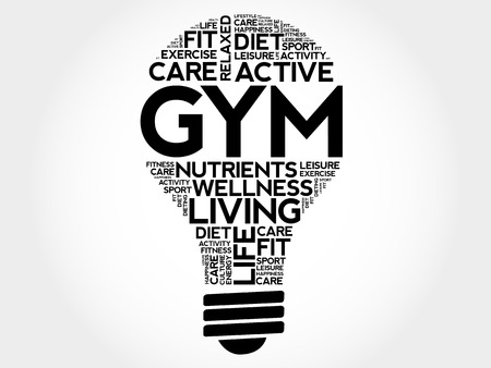 GYM circle stamp word cloud Ilustrace