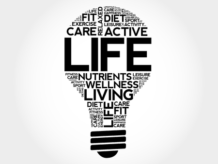 LIFE bulb word cloud collage