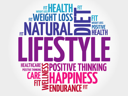 LIFESTYLE circle stamp word cloud, fitness, sport, health concept