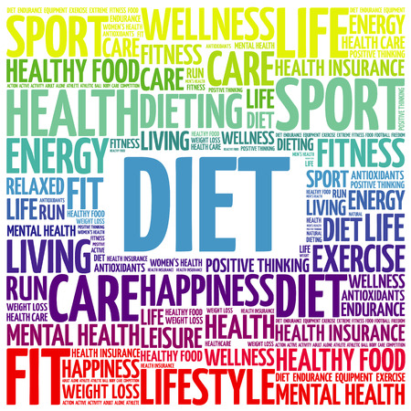 Diet word cloud collage, health concept background
