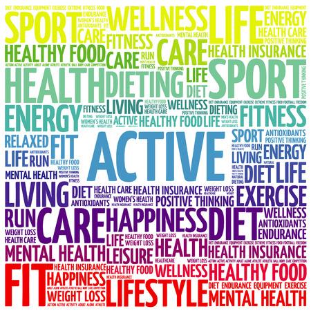 ACTIVE word cloud, fitness, sport, health concept 일러스트