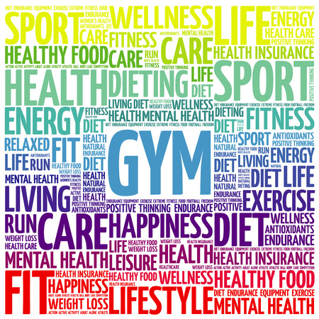GYM word cloud collage background, health concept