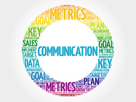 Communication circle word cloud, business concept background Illustration