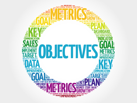 Objectives circle word cloud, business concept background 向量圖像