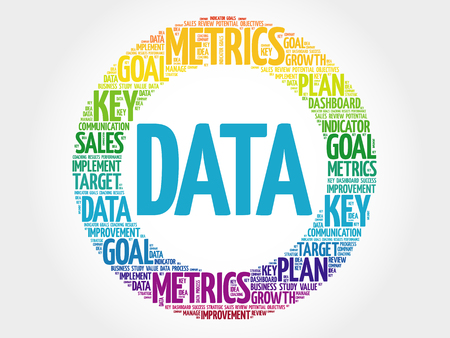 Data circle word cloud, business concept background
