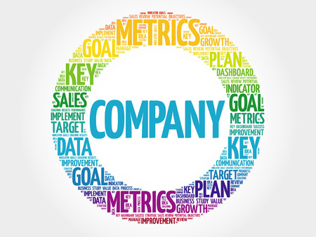 Company circle word cloud, business concept background