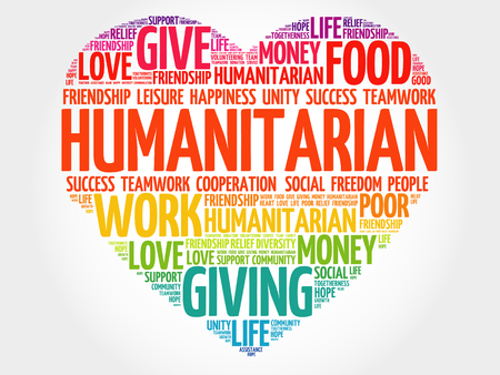 Humanitarian heart word cloud collage, concept background Illustration