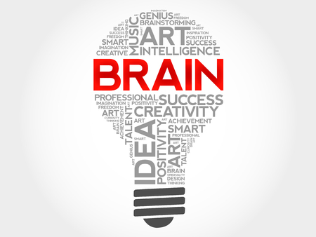 BRAIN bulb word cloud collage, business concept background Çizim