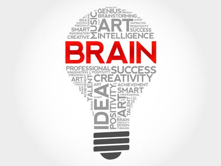 Gehirnbirnenwort-Wolkencollage, Geschäftskonzepthintergrund Standard-Bild - 92711124