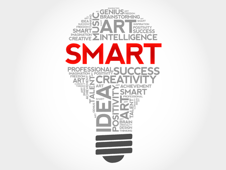 SMART bulb word cloud collage, business concept background