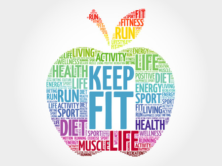 Keep Fit apple word cloud, health concept