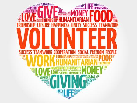 Volunteer heart word cloud collage, concept background. Vectores