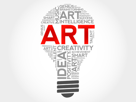 Collage della nuvola di parola della lampadina di ARTE, concetto creativo Archivio Fotografico - 92839958