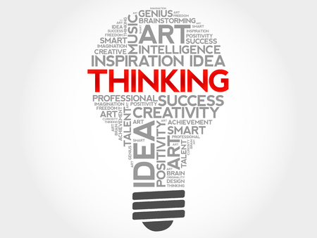 Thinking bulb word cloud concept Illustration